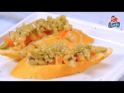 Crostini de pollo, quinua y aceitunas