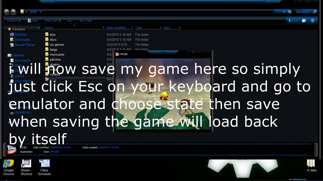 How to save game data on Pcsxr (ps1 emulator) 2012
