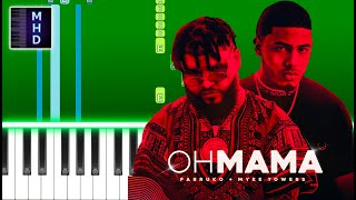 Farruko & Myke Towers - Oh Mamá (Piano Tutorial Easy)