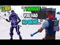 I pretended to be a default skin THEN put on my Purple Skull Trooper in Fortnite...