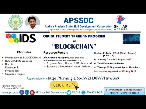 "APSSDC – IDS Online Students Training Program on ""BlockChain"" Day -1"