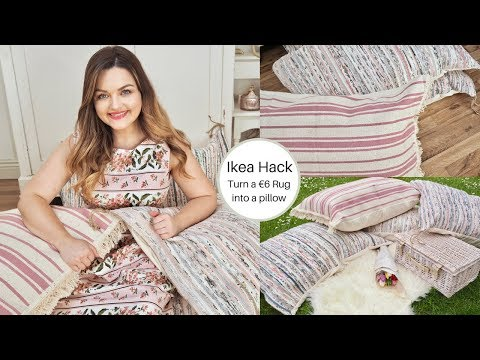 Ikea Hack, How To Turn A Tanum Rug Into A Pillow, Easy Sew!