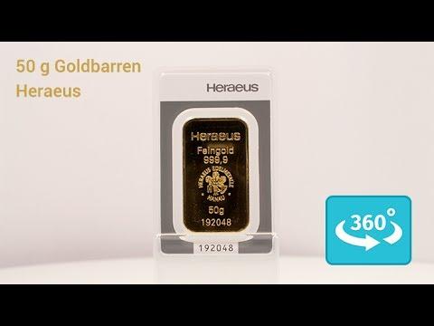 Der 50 Gramm Heraeus Goldbarren in der 360° Ansicht