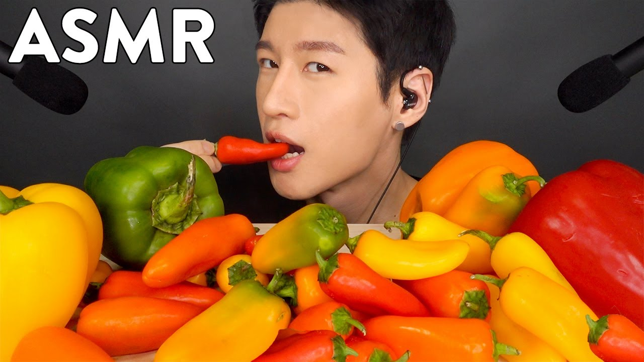 Asmr Sweet Pepper Platter No Talking Crunchy Eating Sounds Zach Choi Asmr