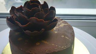 """Торт """"Шоколадный трюфель""""🍫шоколадный декор🍫 Chocolate truffle cake recipe #янабенрецепты"""