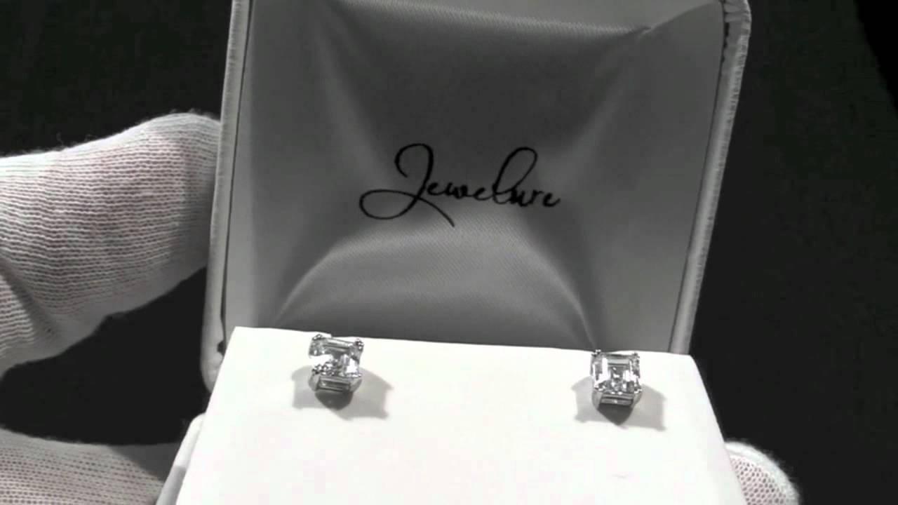 Jewelure 5mm 075 Carat Asscher Cut Simulated Diamond Stud Earrings