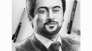 Actor Surya Art / Actor Surya Portrait Art / How To Do Actor Surya Portrait