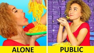 GIRLS IN PUBLIC VS GIRLS ALONE! Funny Awkward Moments