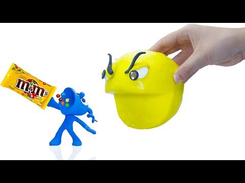 CLAY MIXER: 3D M&M CHOCOLATE PACMAN 💖 Play Doh Cartoons For Kids