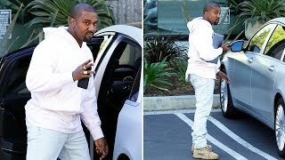 Kanye West Hits The Office Early In Calabasas