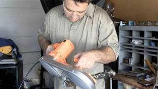 Harbor Freight Portable Bandsaw In Use Cutting Steel