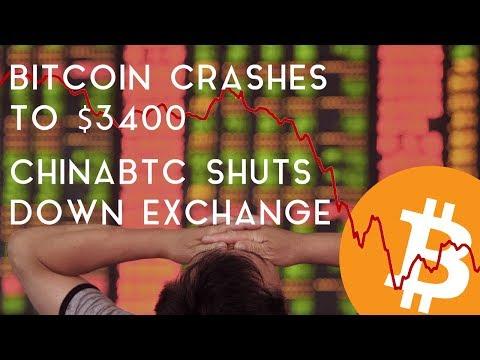 BITCOIN DROPS BELOW $3400   ChinaBTC Announces Shutdown