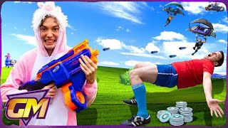 £10,000 Fortnite V-Bucks Challenge! Dad Vs Kids Nerf Bullet Dodge!!