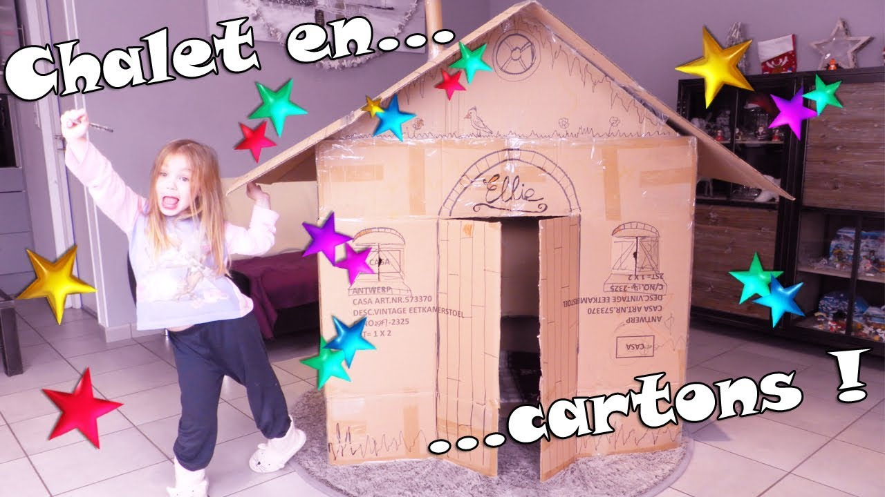 Cabane En Carton Diy confection d'une très grande cabane chalet en carton dans le salon !  cardboard chalet.