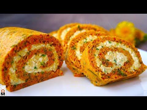 Морковный Рулет с Сырной Начинкой
