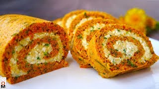 Carrot Roll with Cheese Filling | English subtitles
