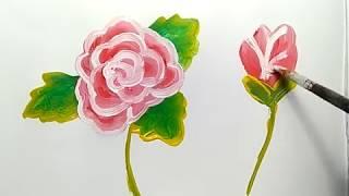 melukis mawar lansung pakai kuas dan cat air, simpel dan mudah kok