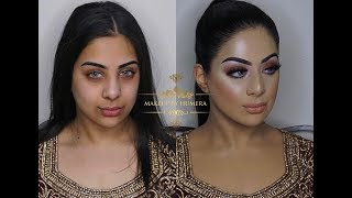 Asian Bridal Makeup | Walima Look | Brown Smokey Eyes And Nude Lipstick