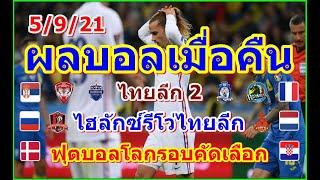 ผลบอลเมื่อคืน/ฟุตบอลโลกรอบคัดเลือกโซนยุโรป/ไฮลักซ์รีโว่ไทยลีก/ไทยลีก2/ตารางคะแนน/5/9/21