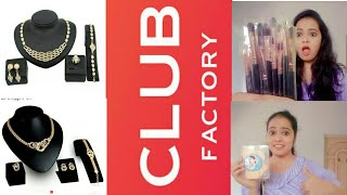 Club factory haul & review !  Indian online shopping ! affordable makeup brush, jewellery...:-)