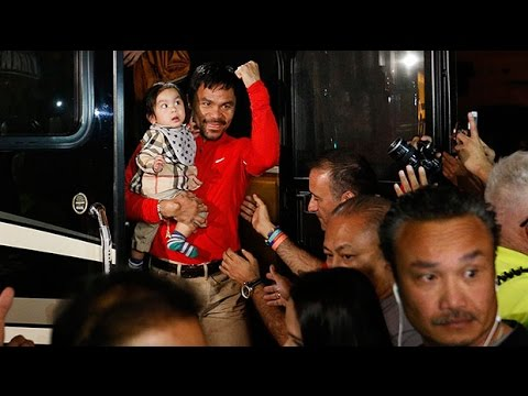 Manny Pacquiao arrives in Las Vegas ahead of Mayweather fight
