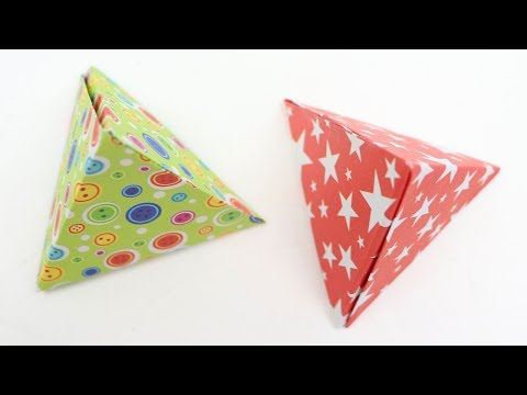 How to Make Origami Pyramid Shape Gift Box with Paper Origami Tetrahedron Tripyramid Box Tutorial