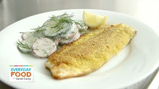 Cornmeal-crusted Trout With Cucumber And Radish Salad - Everyday Food With Sarah Carey