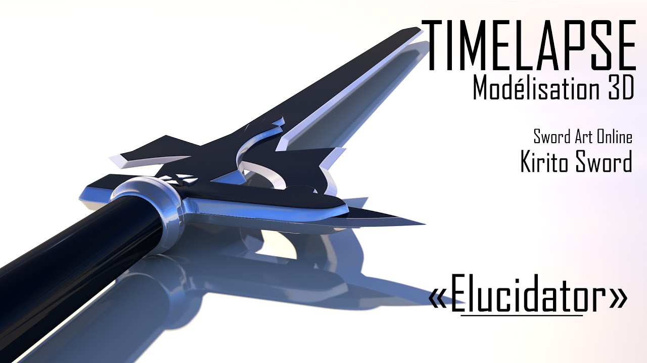 Timelapse 3d sword art online kirito sword elucidator for 3d rendering online