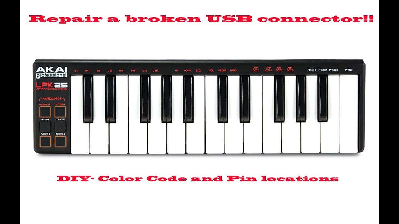 Akai LPK25 Midi Keyboard Repair of broken Mini USB connector