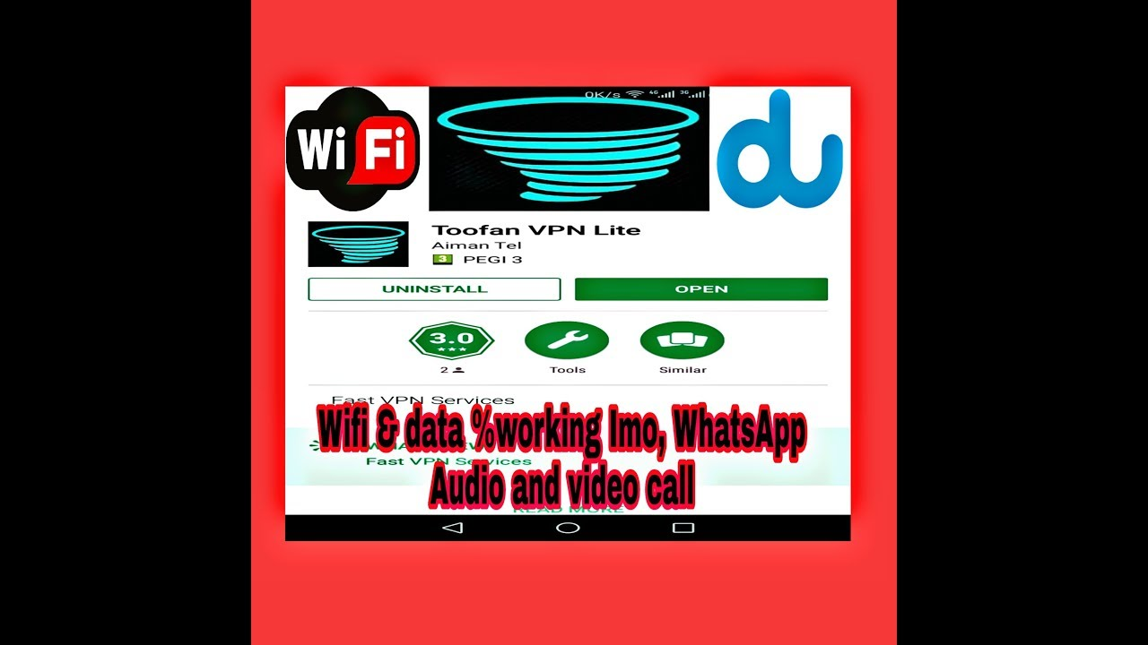 How to Setup an Android phone TOOFAN VPN LITE, wifi & Data 100 %Working  Imo, WhatsApp audio and vide