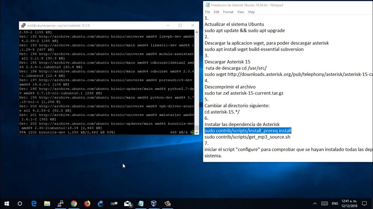 Instalacion de Asterisk 15 en Ubuntu Server 18 04 paso a paso