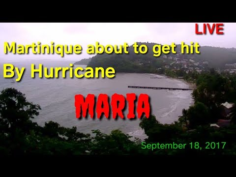 view of Hurricane Maria about to hit Martinique, september 18, 2017, with forecast in description