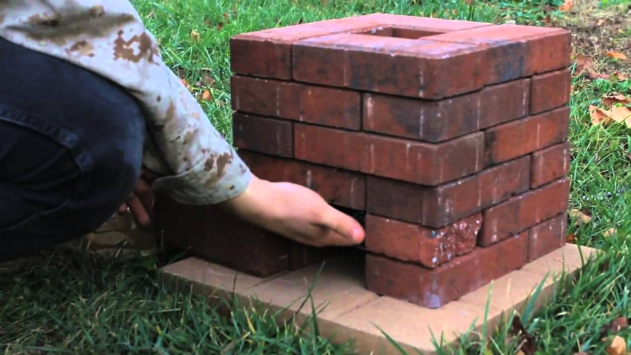 Diy brick rocket stove youtube for How to make a small stove