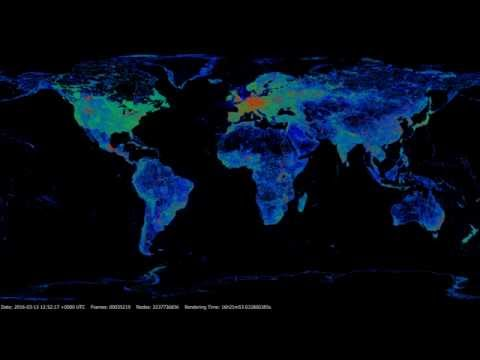 OpenStreetMap nodes history 2006-2016