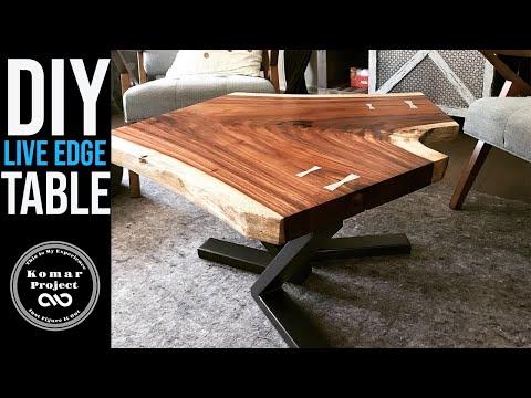 Modern Coffee Table Build    Monkey Pod Live Edge Slab and Metal Legs