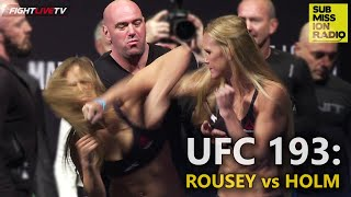 UFC 193 Weigh-ins: Rousey and Holm COLLIDE, Ronda calls Holly fake!