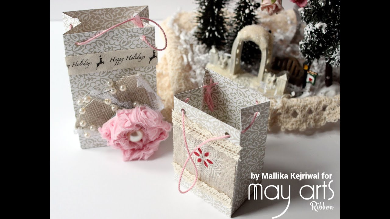 Decorating holiday gift bags with ribbon youtube