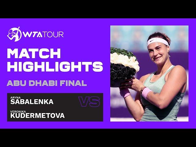 Aryna Sabalenka vs. Veronika Kudermetova   2021 Abu Dhabi Final   WTA Highlights