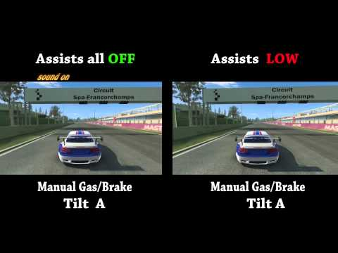 Difference in driving assists Full Low None Manual or Auto Gas Brake Real Racing 3