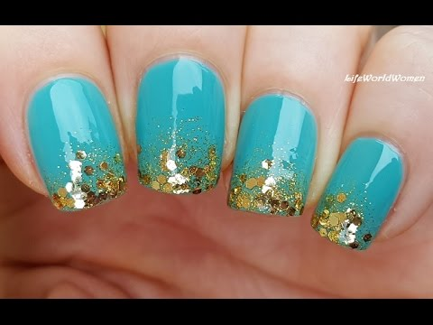 Turquoise & Gold GRADIENT NAILS / Sponge Nail Art - Turquoise & Gold GRADIENT NAILS / Sponge Nail Art - YouTube