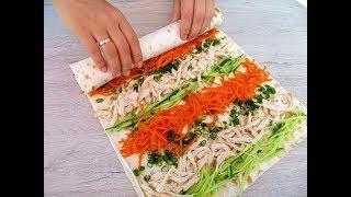 Промажьте два лаваша вкуснейшим соусом и получите великолепную закуску! Рулет из лаваша / Roll