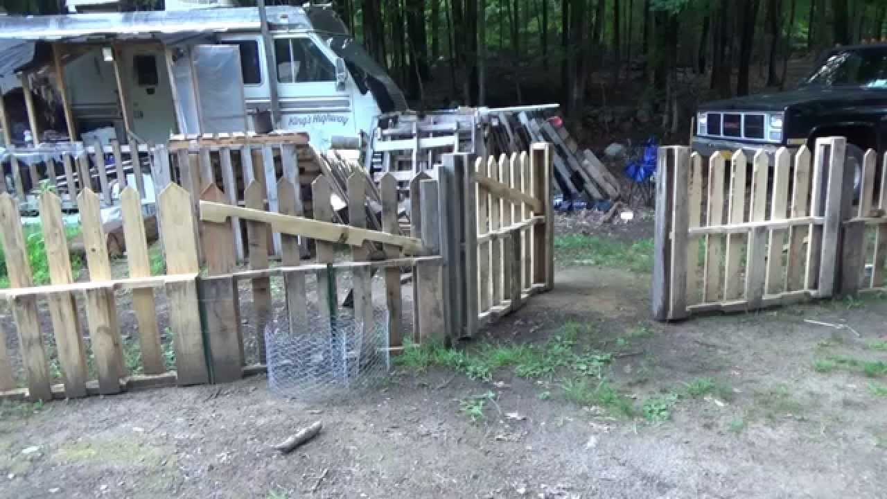 stabilizing my pallet wood picket fence gates youtube. Black Bedroom Furniture Sets. Home Design Ideas