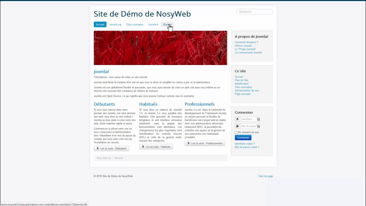 Les fondamentaux Joomla - Créer un élément de menu pour un article