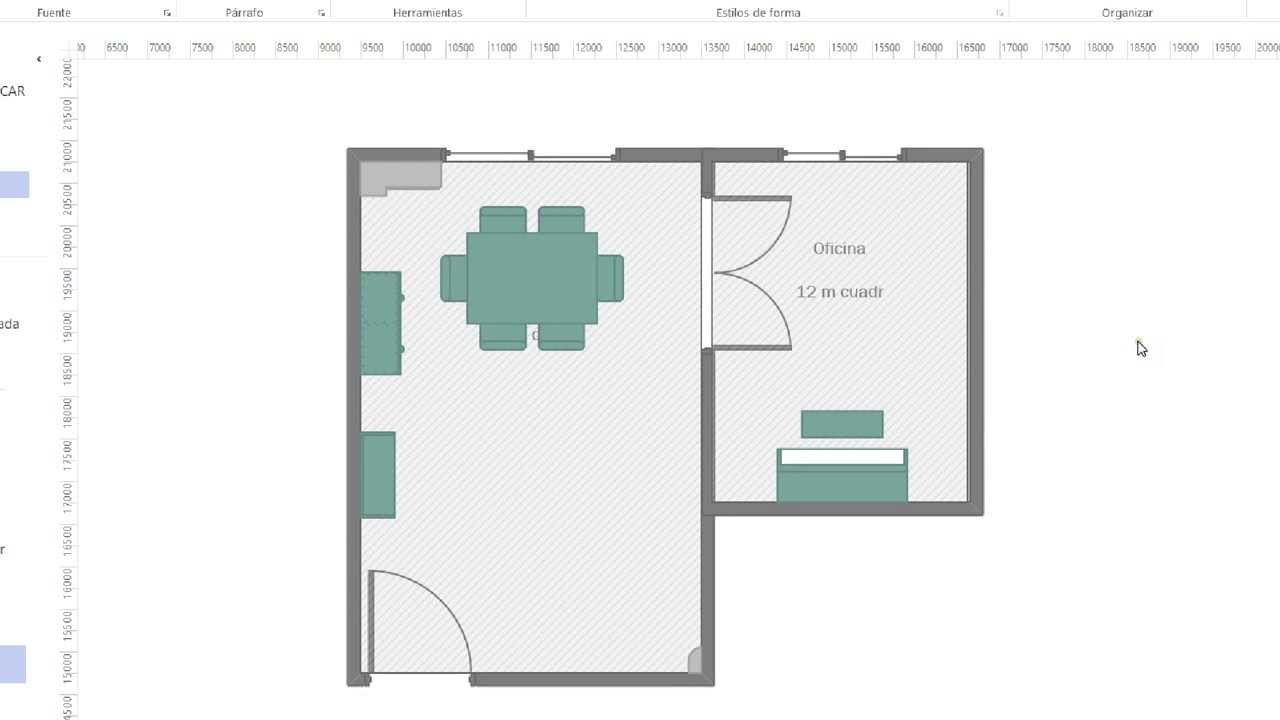 Visio 2013 hacer un plano de una habitaci n o estancia for Programa para crear habitaciones 3d