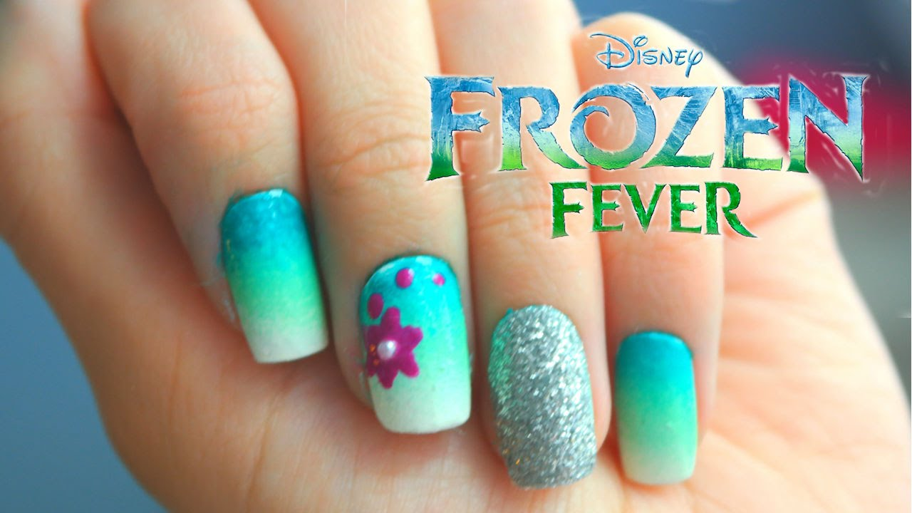 Disney Frozen Fever Nail Art - Disney Frozen Fever Nail Art - YouTube