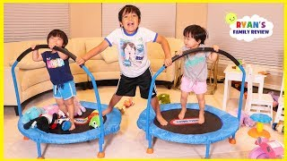 Kids Playing on Toddler Trampoline for the first time!!!