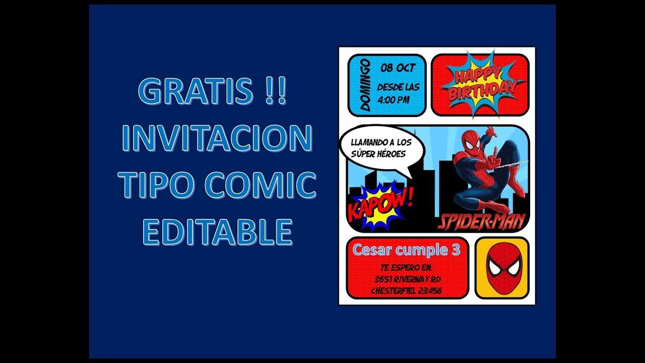 Gratis Invitacion Tipo Comic Spider Man Editable