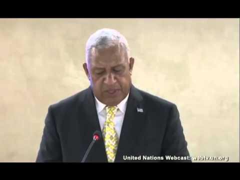 Fijian Prime Minister Voreqe Bainimarama, addresses Human Rights Council in Geneva, Switzerland