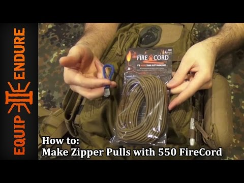 How to Make Zipper Pulls with 550 FireCord, Paracord Plus Emergency Fire Starter by Equip 2 Endure Y