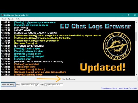 Elite: Tools - ED Chat Log Browser updated!!!